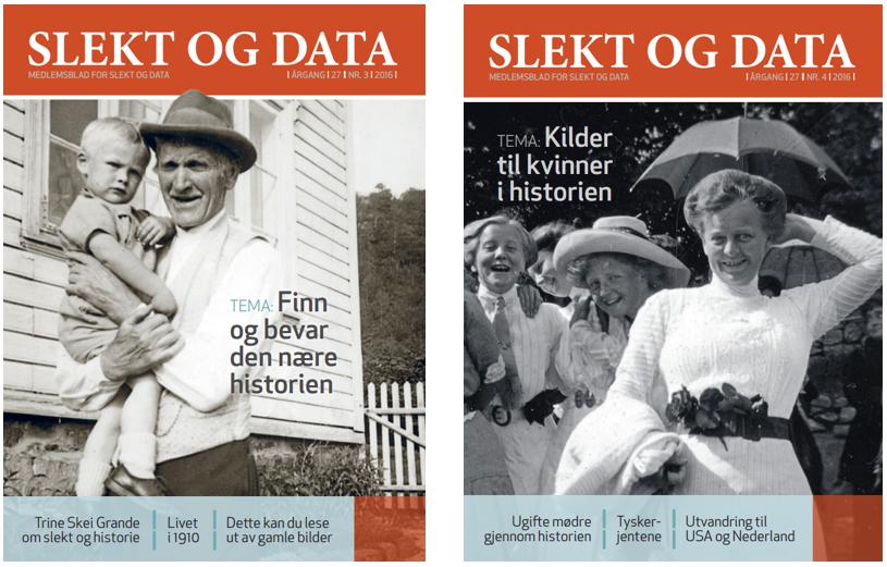 Forsidebilde av medlemsbladet Slekt og Data nr 3 og 4 i 2016