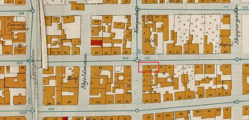 Utsnitt av bykart 1902. Hus markert med rød firkant. Tilhører kartverket. Ukjent tegner