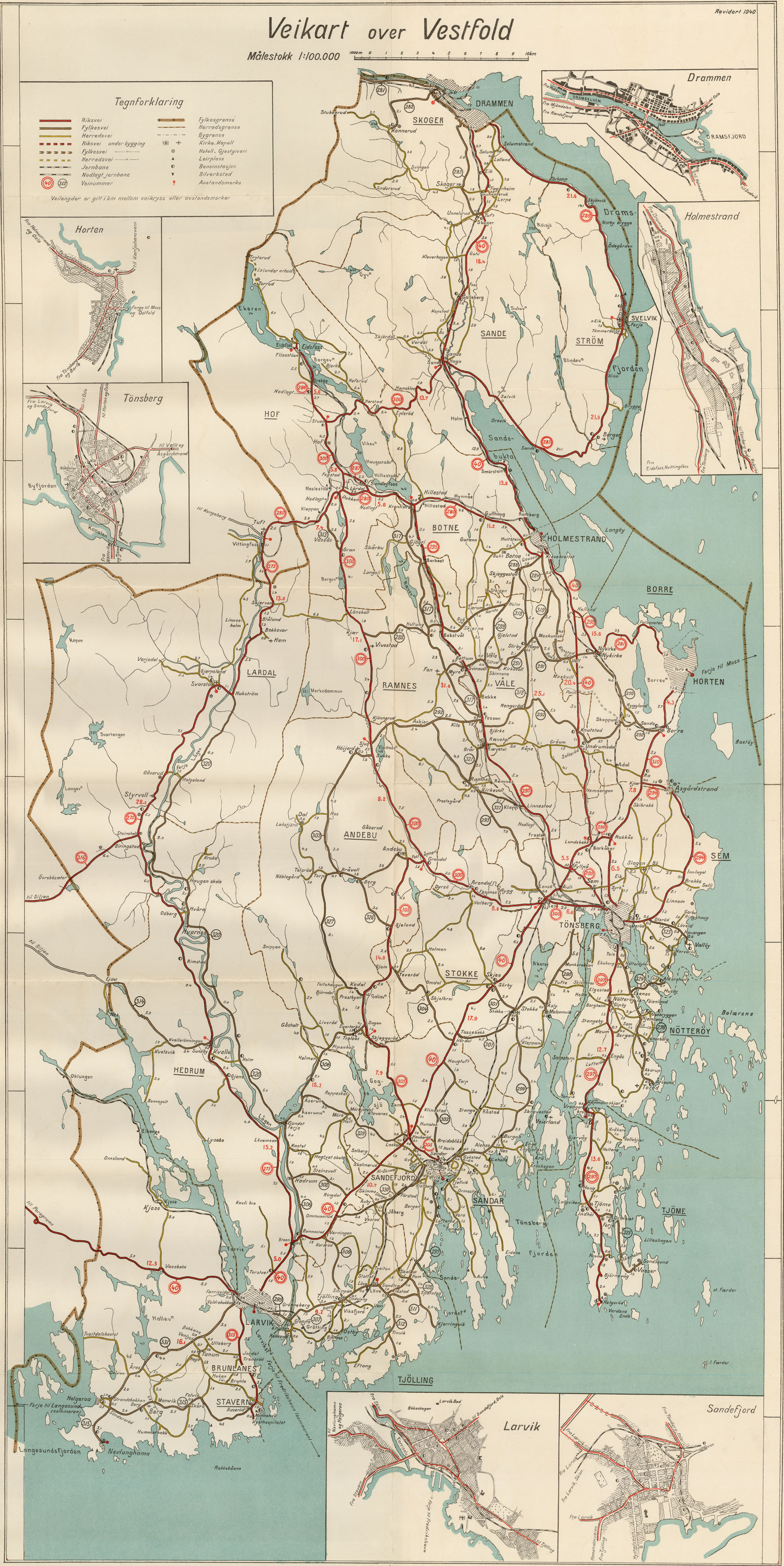 Kart over Vestfold