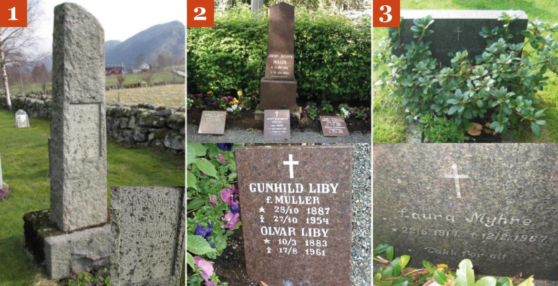 Eksempler på store steiner, familiegraver og tildekte graver