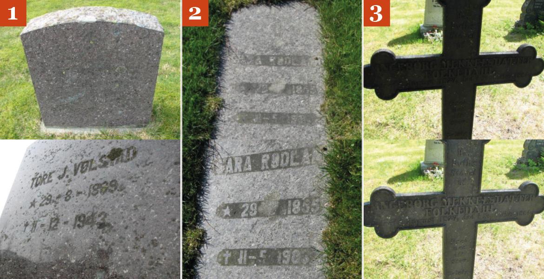 Eksempler på utydelig tekst på gravminner
